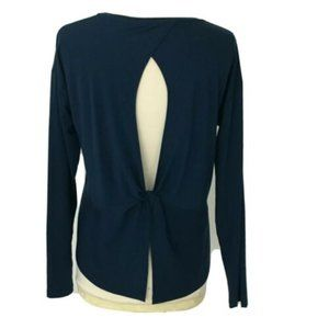 Athleta Shirt Essence Twist Back Long Sleeve Blue
